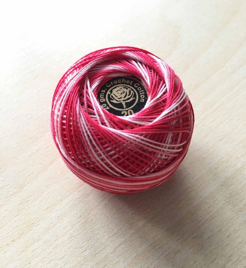 fil de coton Taille 20 couleur  rouge blanc