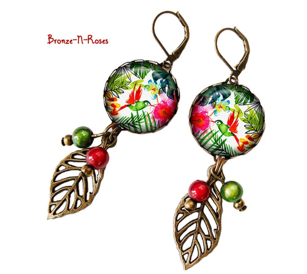 Boucles d'oreilles Fleurs tropicales oiseaux cadeau bijou fantaisie