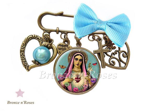 """Marque-pages """" La vierge aux fleurs """" cabochon bronze bleu rose bijou"""