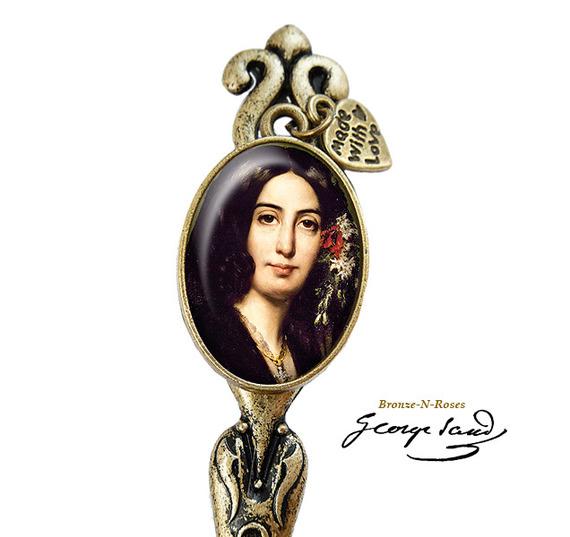Bijou de sac ° George Sand ° bijou fantaisie cadeau rétro bronze verre
