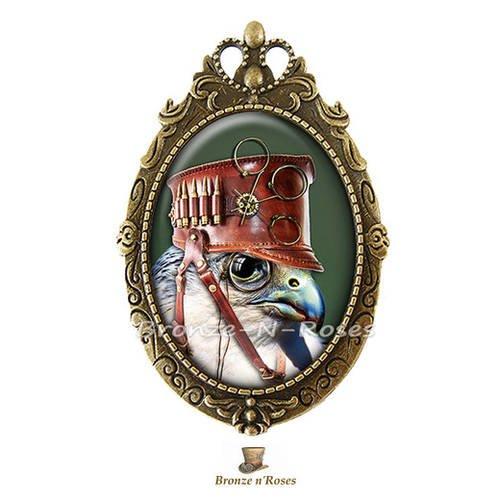 """Broche épingle """" steampunk birds """" cabochon bronze oiseaux chapeau marron verre"""
