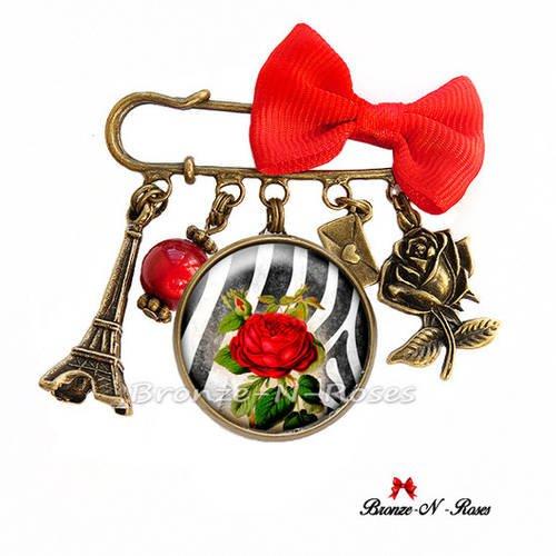 Broche épingle * rose rouge * bijou cabochon fantaisie