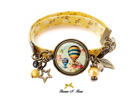Boucles d'oreilles * Montgolfière * cabochon verre bronze bijou jaune rétro ballon verre dormeuses