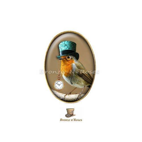 """Bague """" steampunk birds """" cabochon bronze oiseaux chapeau"""