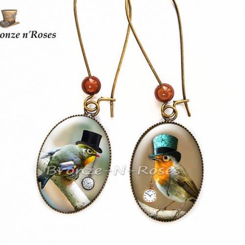 """Boucles d'oreilles """" steampunk birds """" cabochon bronze oiseaux chapeau"""