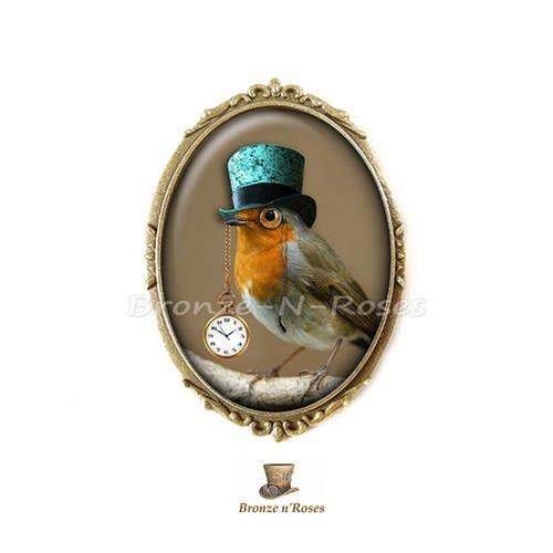 """Broche épingle """" steampunk birds """" cabochon bronze oiseaux chapeau"""