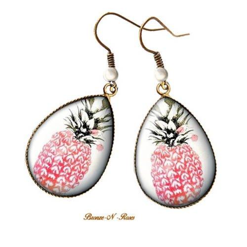 Boucles d'oreilles gouttes * ananas roses * cabochon bronze pendant verre