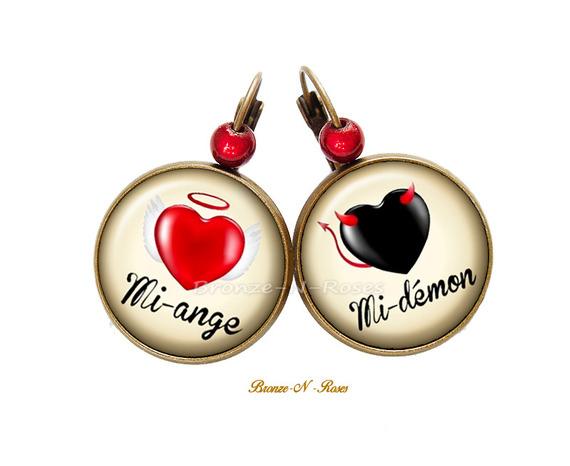 Bague ° Mi-ange Mi-démon ° cabochon noir et rouge bronze