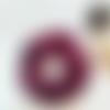 Chouchou prune à pois dorés en double gaze de coton