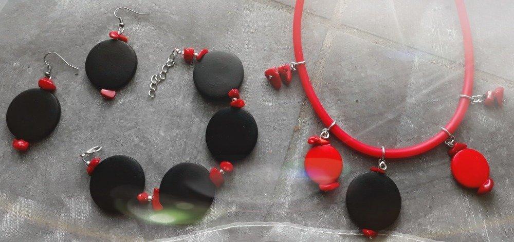 """Boucles d'oreille """"en rouge et noir"""""""
