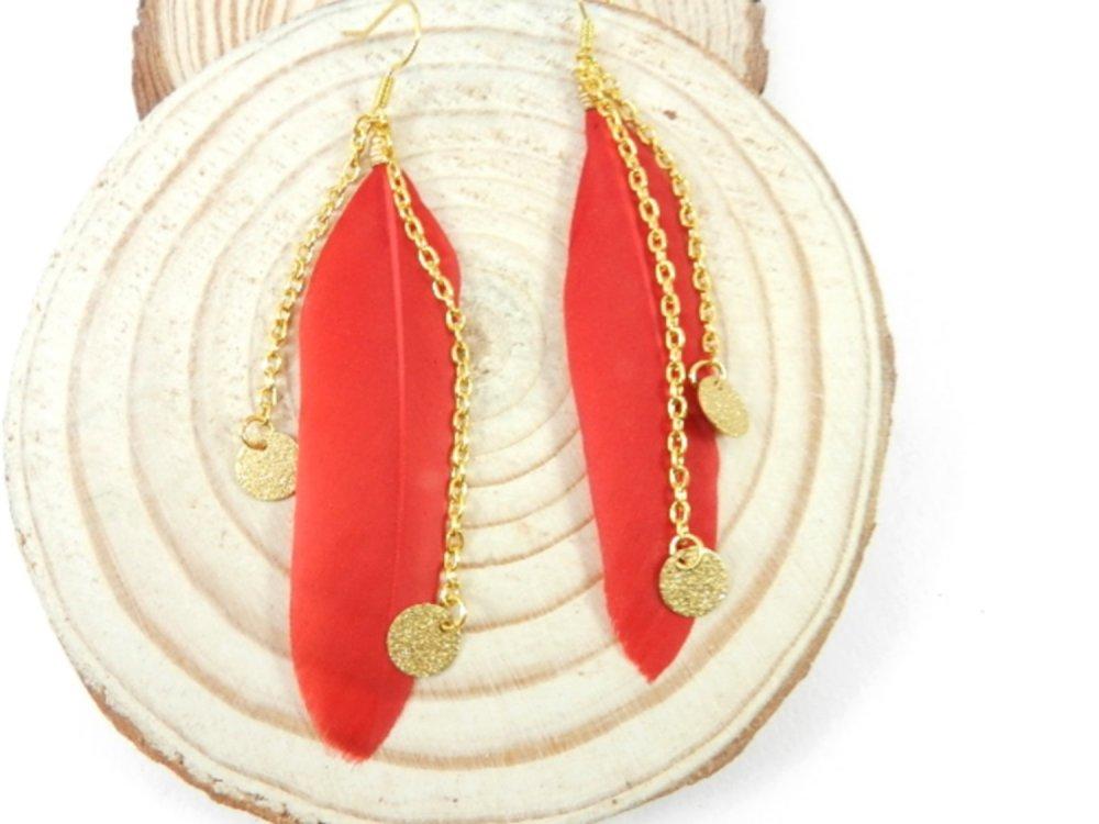 Boucles d'oreilles dorées pendantes plume