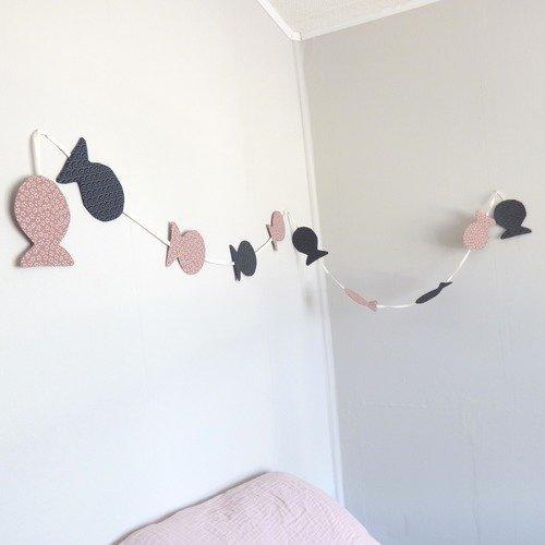 Guirlande poissons rose/bleu marine_décoration chambre bébé ...