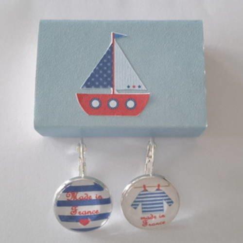 Boucles d'oreilles cabochon marinière et boîte cadeau
