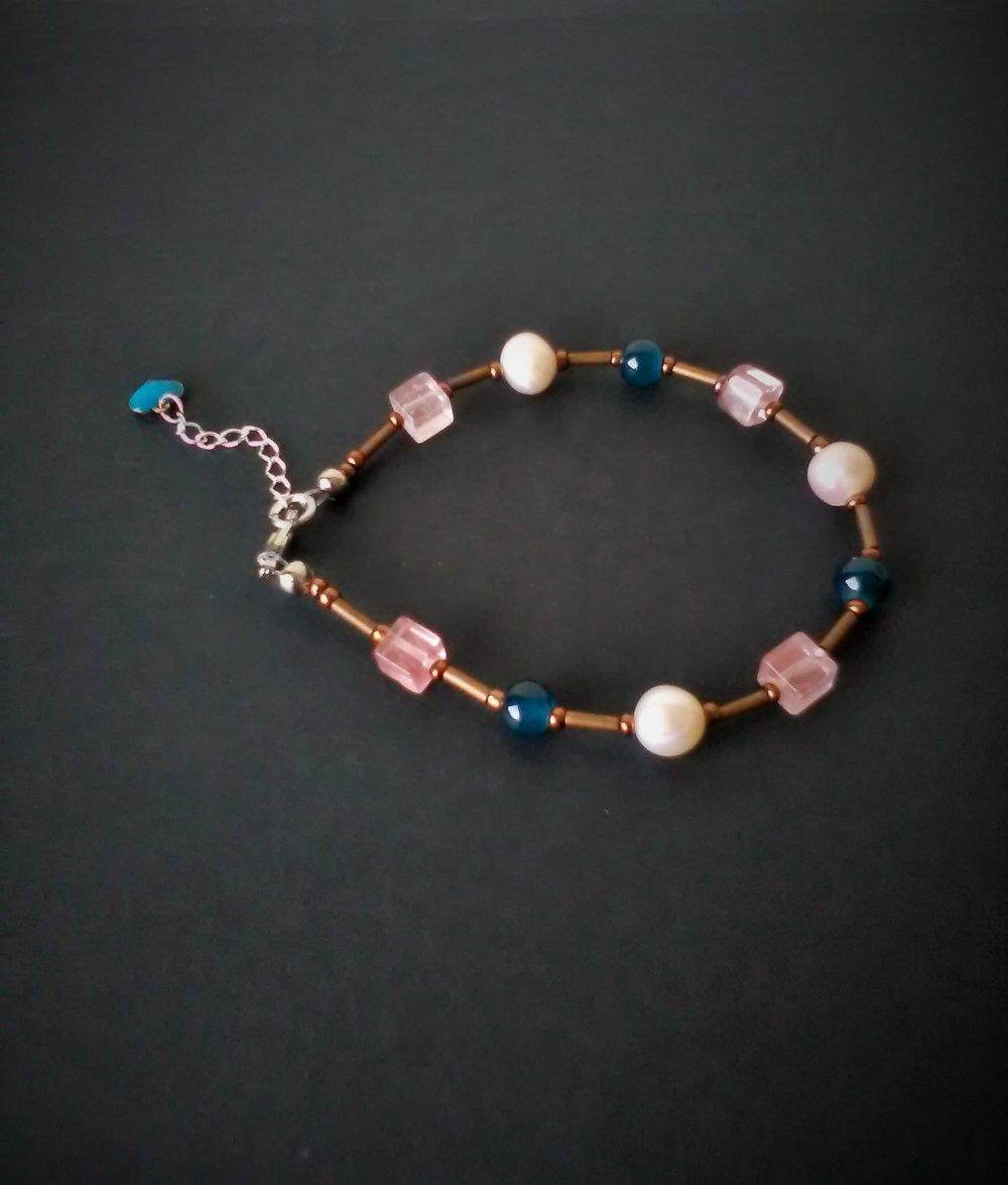 BRACELET femme quartz rose, bijou femme, idée cadeau, Made in France, Paris, bracelet création