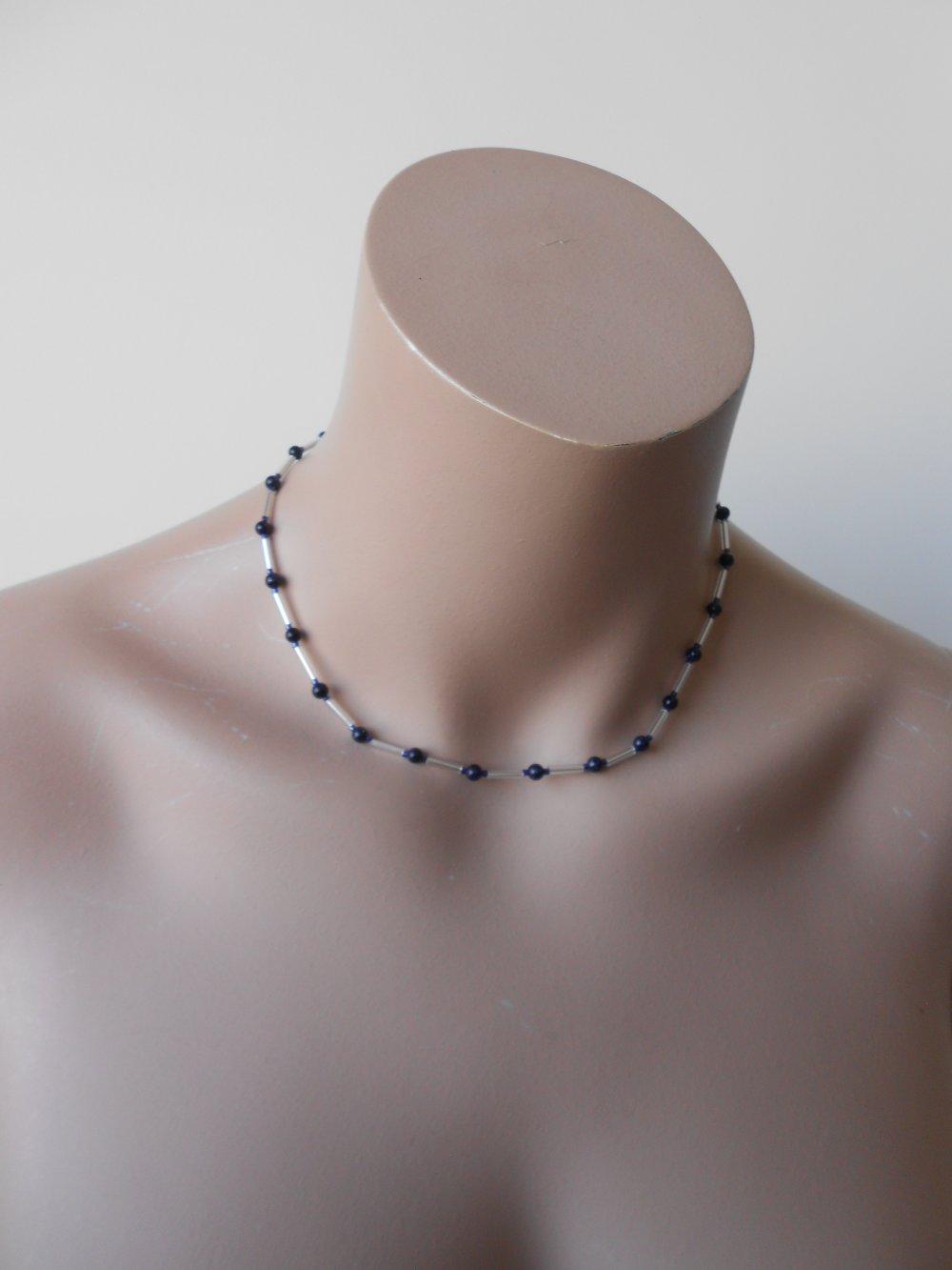 COLLIER pierre de soleil bleu nuit, bijou fait main, collier pierres naturelles, collier femme