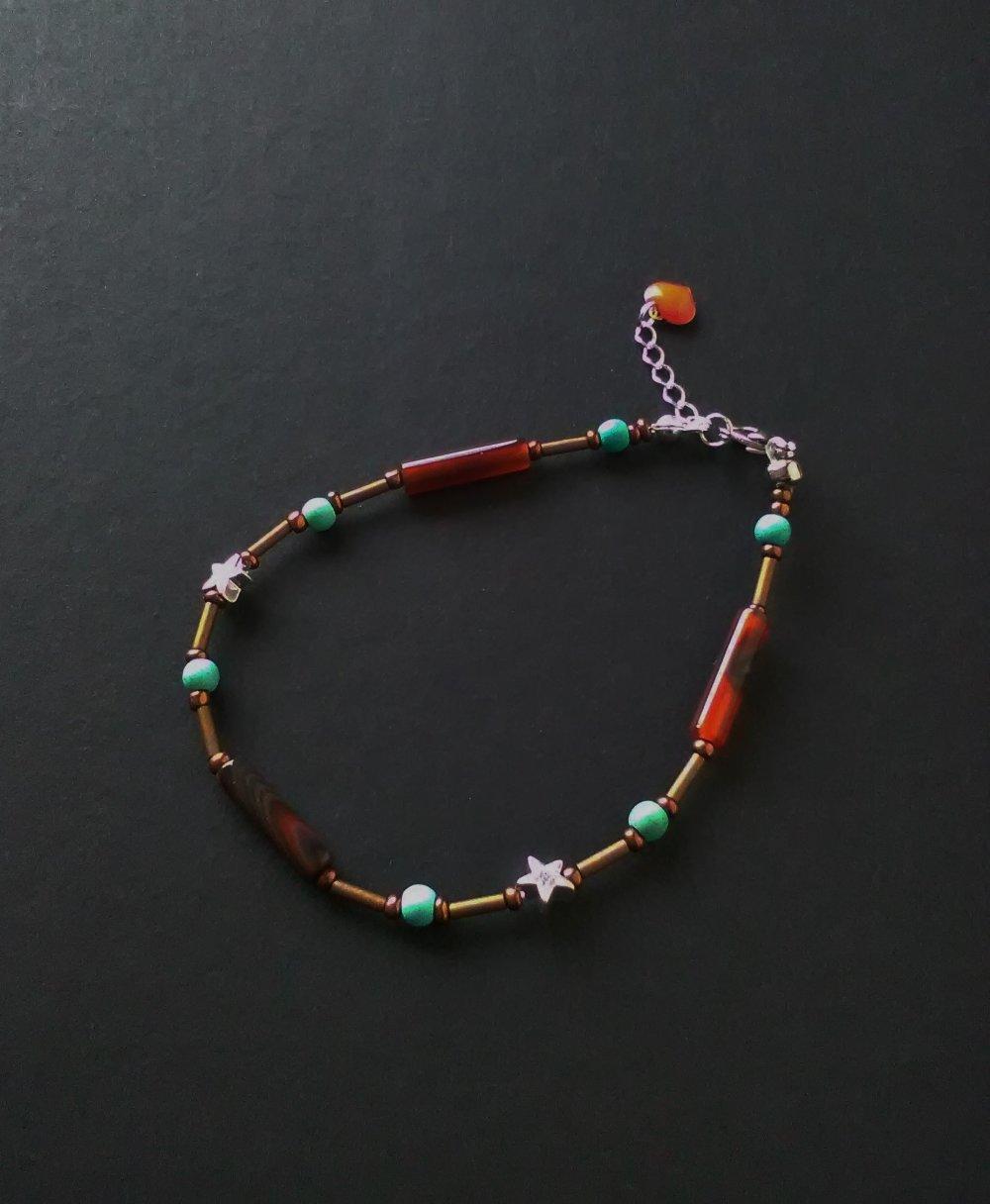 BRACELET femme agate et pierre de howlite turquoise, bijou femme, idée cadeau, Made in France, Paris,