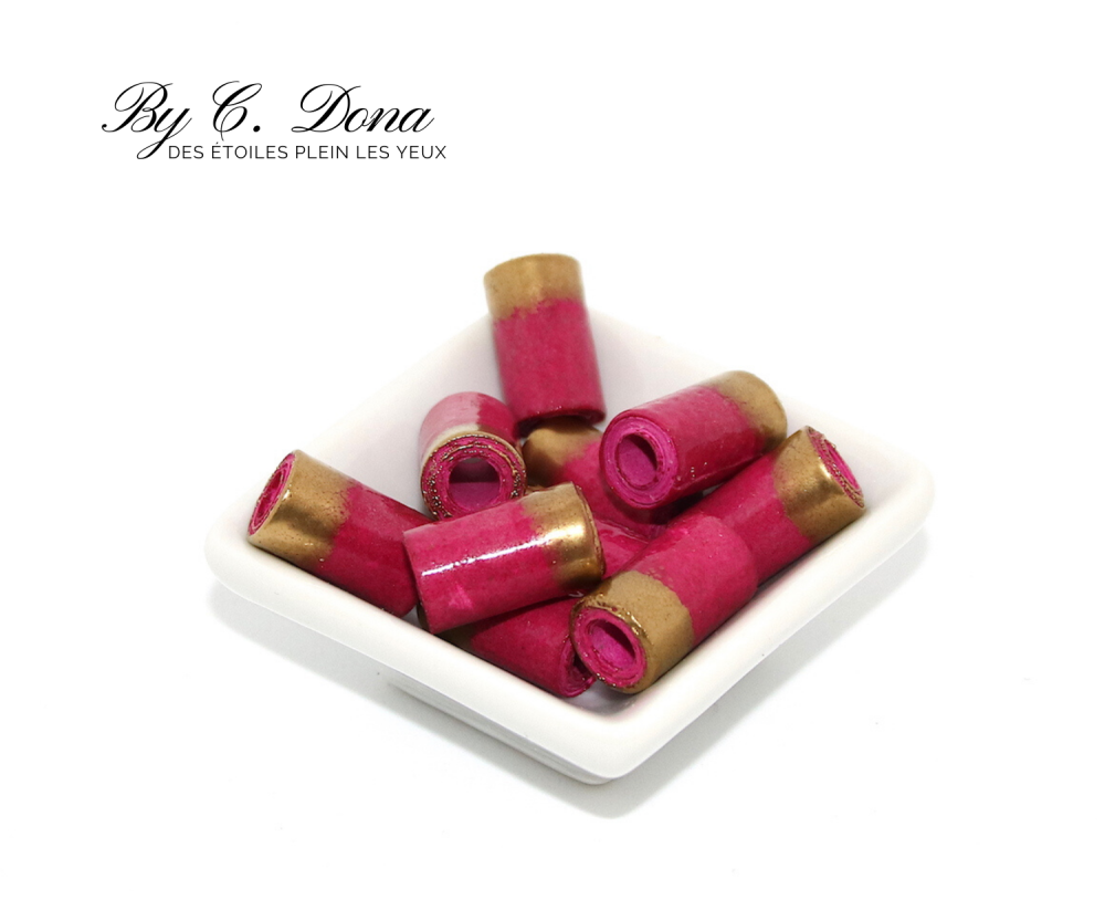 Perles en papier - rose et or