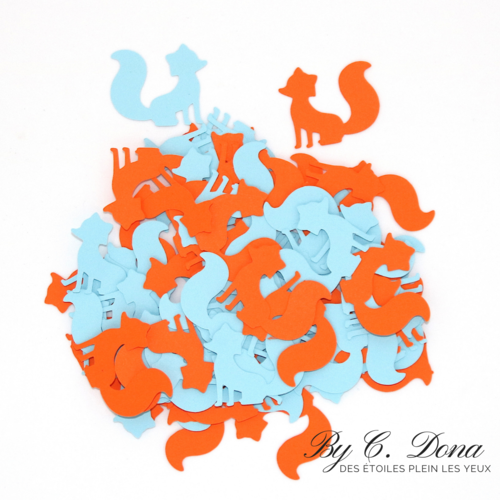 Confettis renards - bleu orange