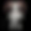 Grande poupée vaudou punk en feutrine - rose blanc noir