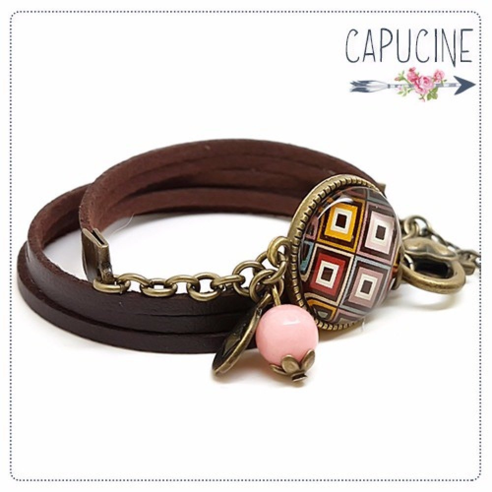 Bracelet marron avec cabochon verre losanges - Bracelet breloques bronze - Bracelet multi-rangs - Bracelet Damier