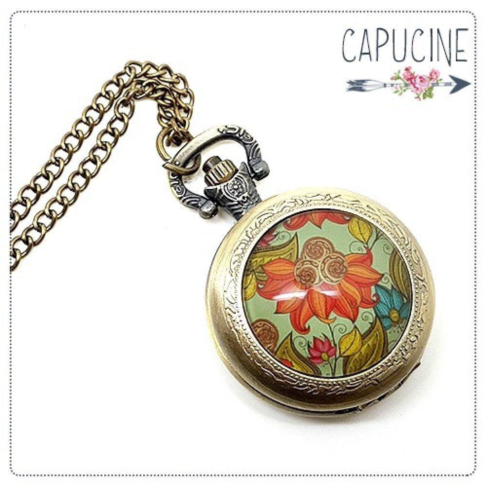 Montre Gousset bronze avec cabochon verre fleurs vintage - Montre gousset fleurs - Sautoir montre - Fleurs d'Été