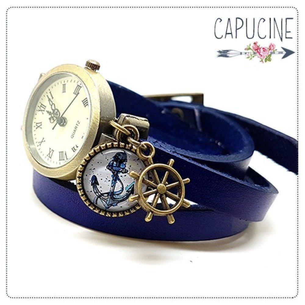 Belle Montre bracelet en cuir bleu marine - montre multirangs 3 tours de RV-49