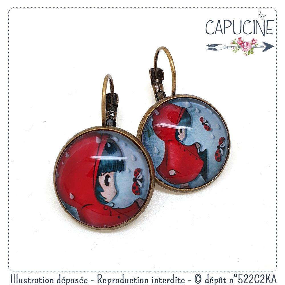 Boucles d'oreilles fillette et coccinelle avec cabochon verre - Boucles d'oreilles dormeuses fillette - Coccinelle & Demoiselle