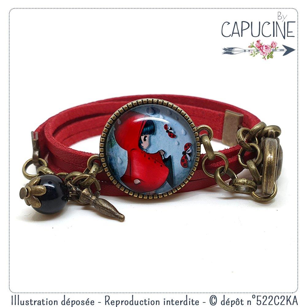 Bracelet rouge 2 tours de poignet avec cabochon verre motif fillette et coccinelle - bracelet breloques bronze - Coccinelle & Demoiselle