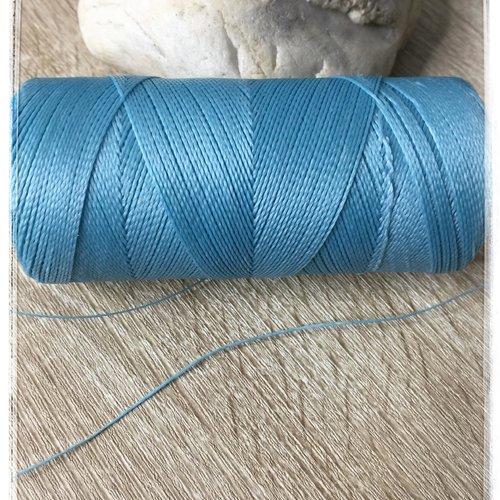 Fil polyester ciré  0,75 mm bleu