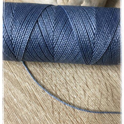 Fil polyester ciré  1 mm bleu jean
