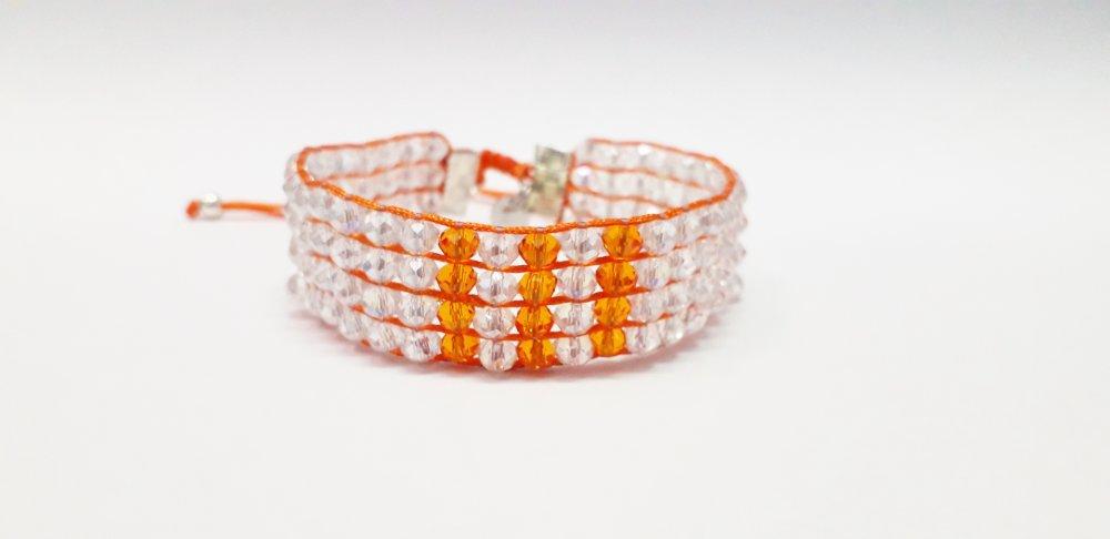 Bracelet manchette Bollywood Cristal / Orange