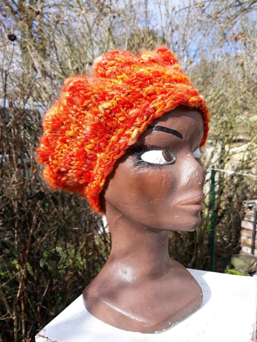 Chapeau, bonnet laine filée main