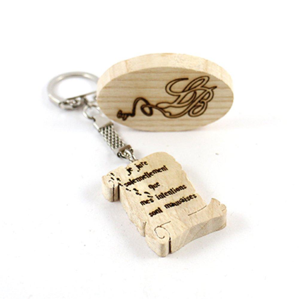 """Porte-clés en bois Harry Potter - Parchemin """"je jure solennellement que mes intentions sont mauvaises"""""""