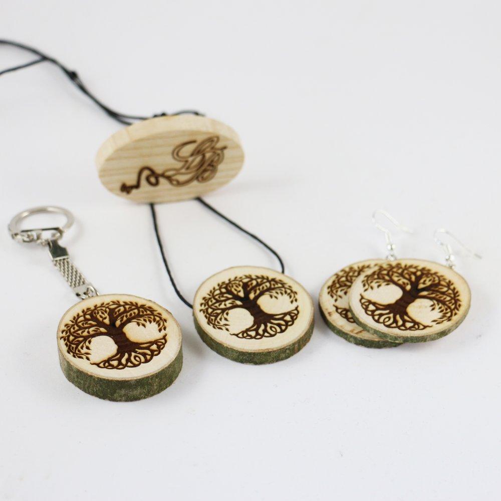 Boucles d'oreilles - Collier - Porte-clés Viking en rondelle de bois gravé avec le symbole de Yggdrasil
