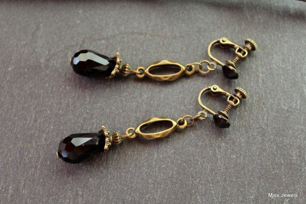 Boucles d'oreilles clips à vis goutte de verre noire, clips d'oreilles noir retro vintage art deco bronze