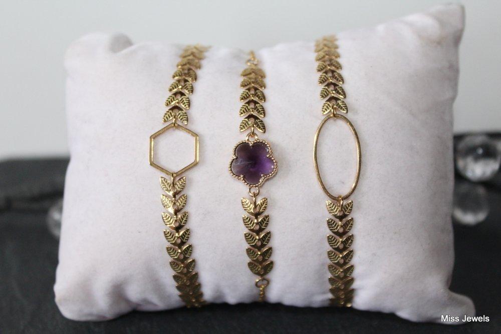 Bracelet chaine epi en acier inoxydable intercalaire fleur en verre violet, bracelet femme minimaliste