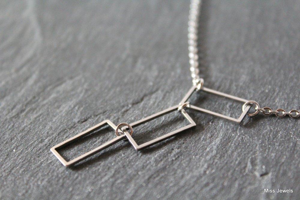 Collier rectangles acier inoxydable, ras du cou argent, collier court, collier minimaliste