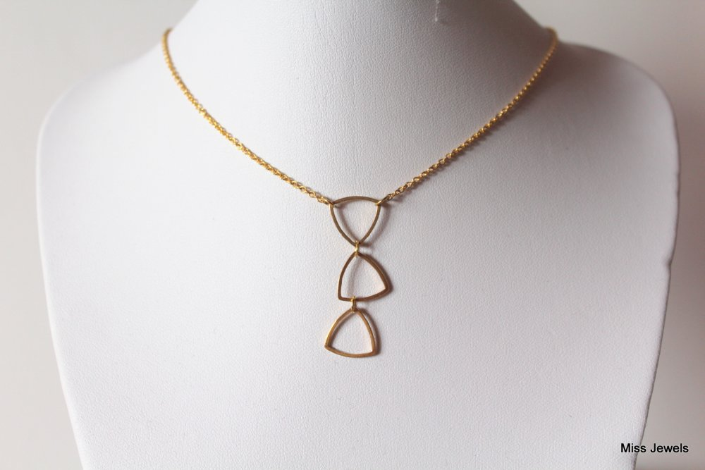 Collier triangles acier inoxydable, ras du cou doré, collier court, collier minimaliste