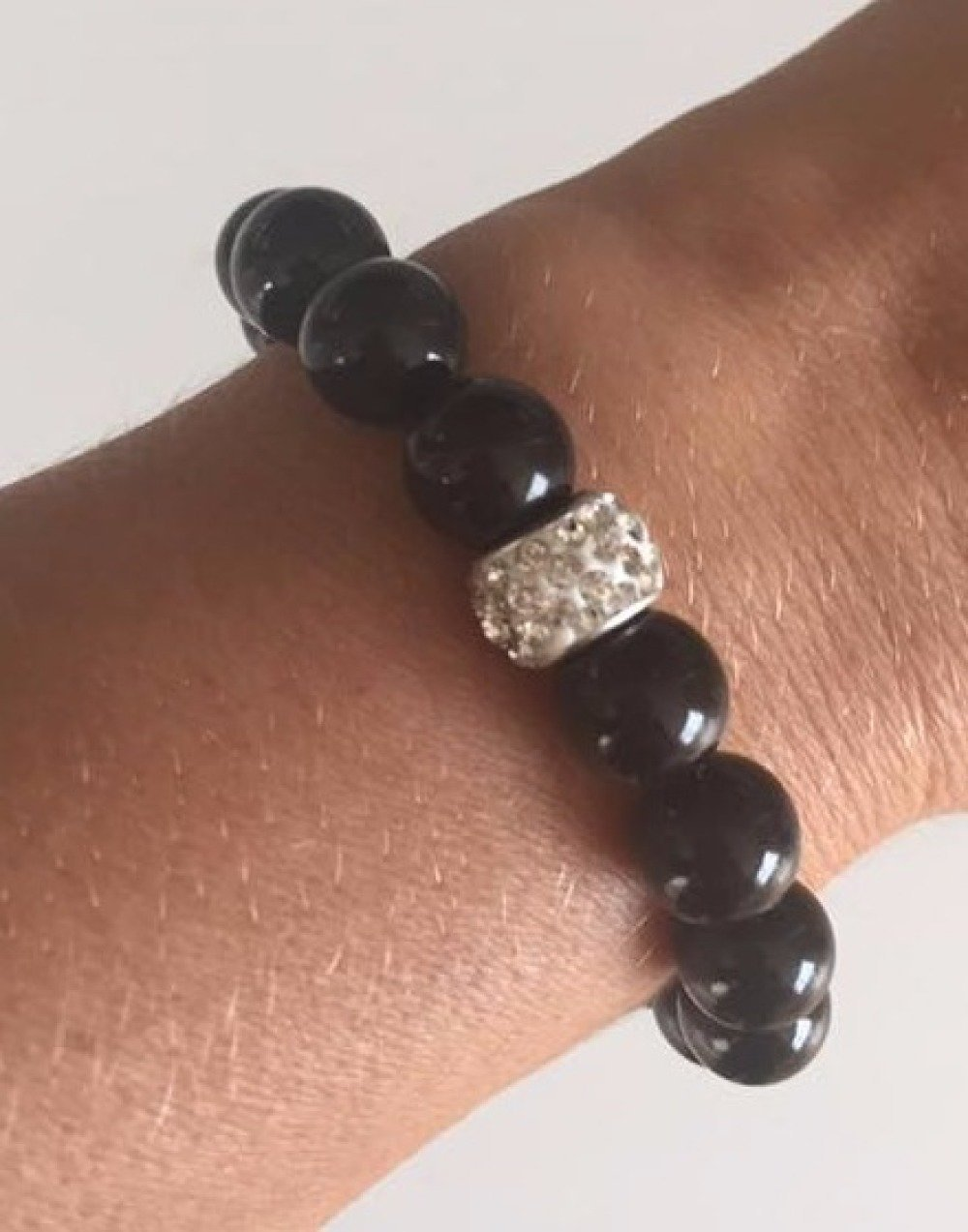 Bijoux Bracelets en perles élastiques et breloque brillante