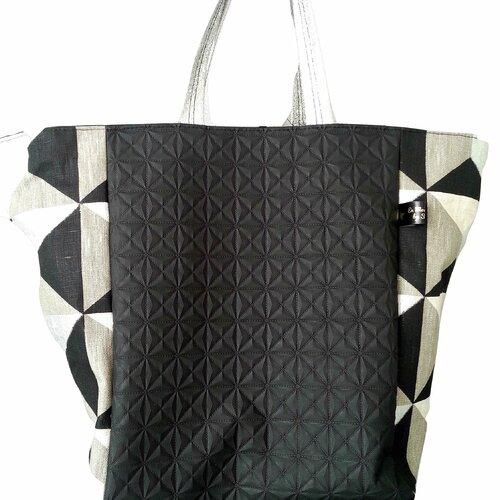 Sac cabas carré simili cuir et lin lamé doublure bachette coton coloris noir, argenté