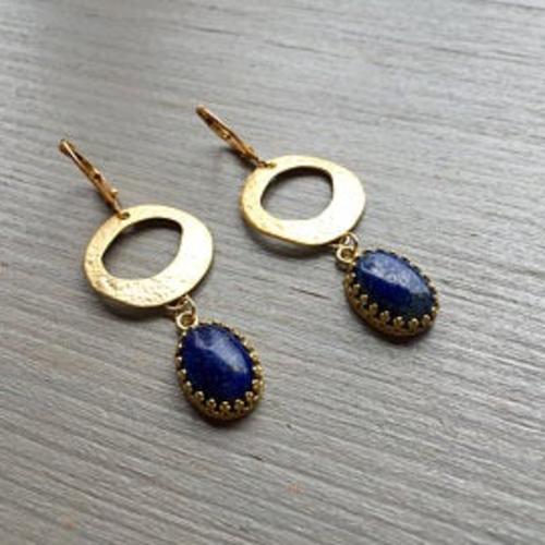 Boucles d'oreilles art déco erin, lapis lazuli et or fin