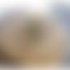 Bague khaleesi ajustable en laiton martelé 3 cabochons couleur émeraude