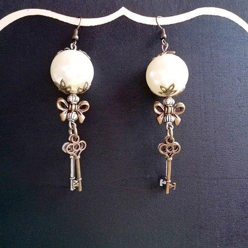 Boucles d'oreilles steampunk bronze et argent