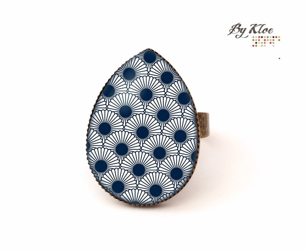 Bague Cabochon • Vagues fleurs • bleu marine bronze verre