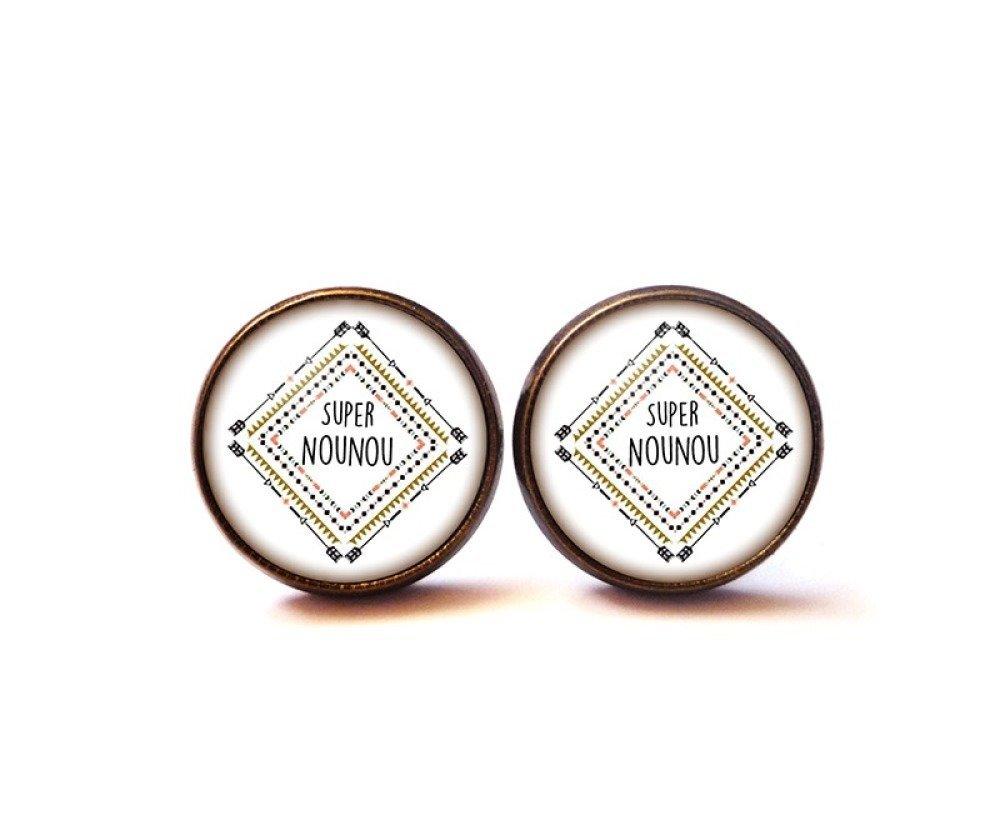 Puces d'oreilles Cabochon • Super Nounou • personnalisable bronze verre