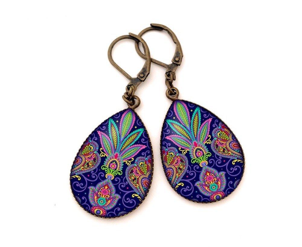 Boucles d'oreilles pendantes cabochons • Graphisme Orient • bronze verre