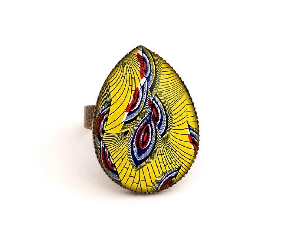 Bague Cabochon • Wax africain • ethnique jaune bronze verre