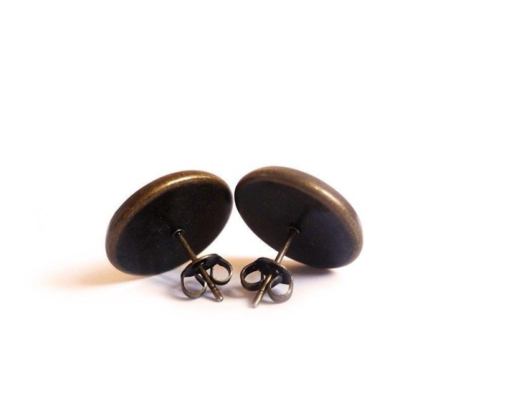 Puces d'oreilles Cabochon • Happiness • personnalisable bronze verre