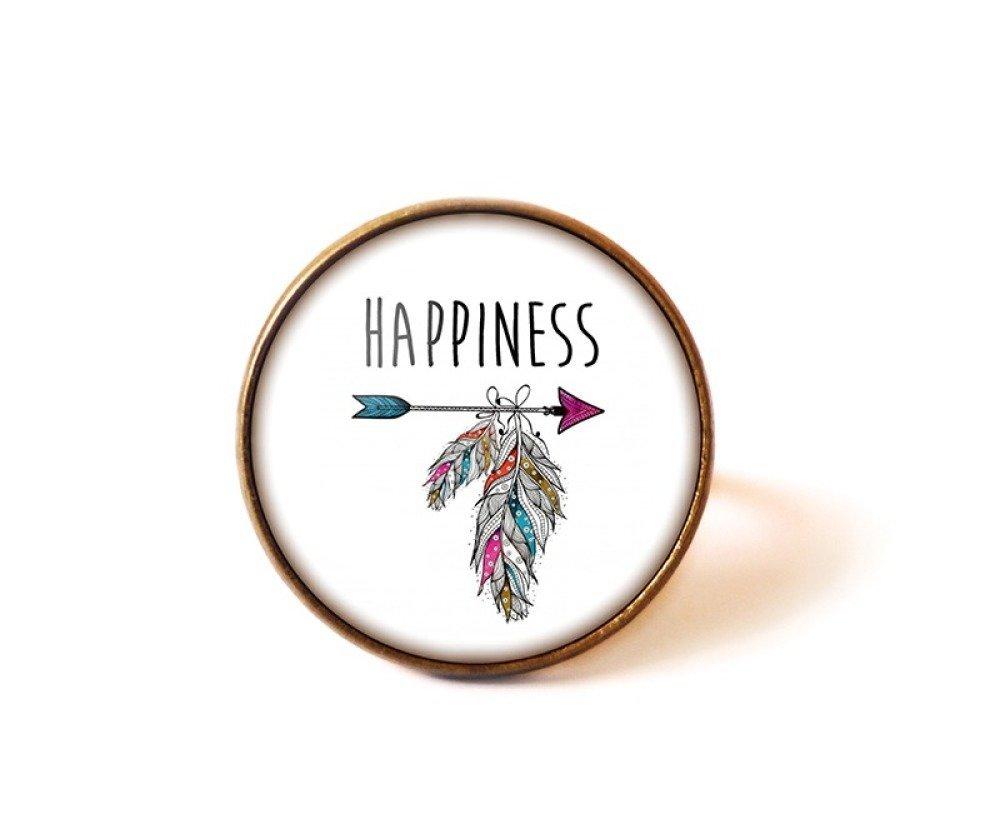 Bague Cabochon • Happiness • personnalisable bronze verre