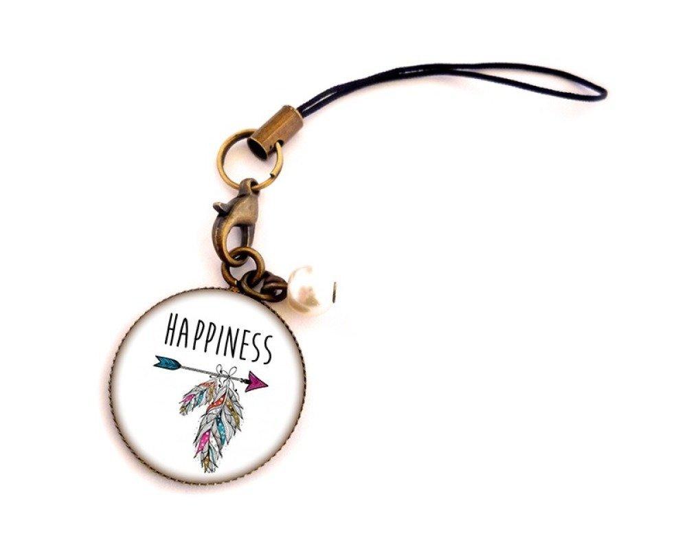 Porte-clés / Charm Cabochon • Happiness • personnalisable bronze verre
